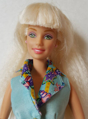 BARBIE DOLL Articulated arms blonde crimped hair seashell starfish top & pants