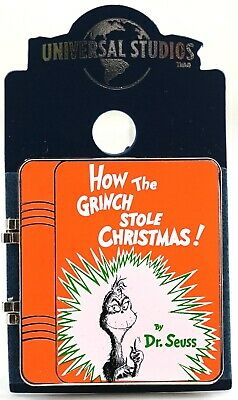 New Universal Studios Dr. Seuss How The Grinch Stole Christmas Enamel Book Pin