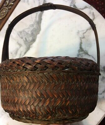 Small Antique Chinese Bamboo Basket