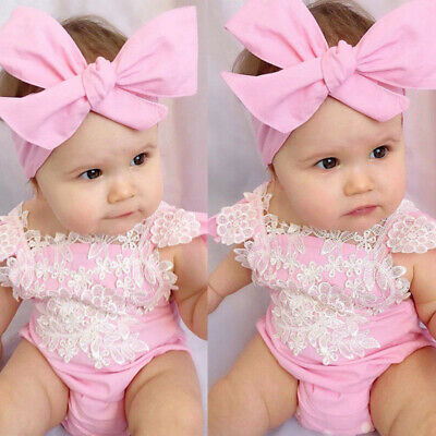 2PCS Baby Girls Lace Romper Bodysuit Headband Outfits Newborn Kids Jumpsuit Set