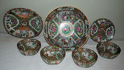 1. Beautiful Antique Chinese Rose Medallion 7 Pc's Bowl, Tray, 5 Cups, 1 Plate