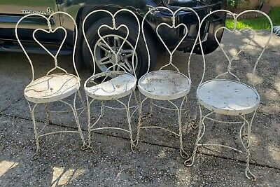 4 Vintage Ice Cream Parlor Chairs Twisted IRON METAL HEART BACK AS IS