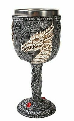 Bone Dragon Fantasy Wine Goblet Chalice Medieval Stainless Steel Cup