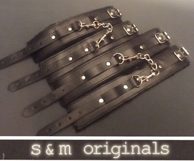 Leather hand cuffs ankle restraints Bondage roleplay kit fetish 5 *High quality