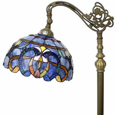 Floor Lamp Tiffany Stained Glass Arched Reading Light 64 Inch Tall Blue Purple