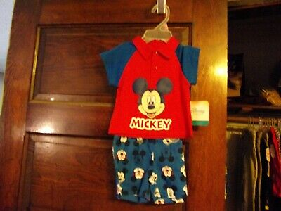 Mickey Mouse Disney 2 PC Shirt & Shorts Set Baby Boy's Size 0-3 Months New