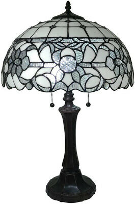 Amora Lighting 18 in. Tiffany Style White Table Lamp