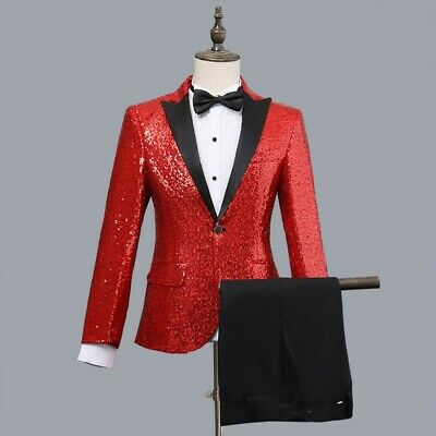 Mens Blazer Sequin Stage Performer Formal Host Suit Bridegroom Tuxedos Suits Sz