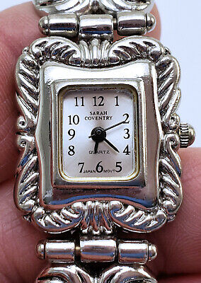Women's Vintage Sarah Coventry Quartz Watch 21mm By 24mm Silver Baroque SCL3390