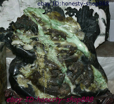 China 100% Natural Dushan Xiuyu Jade Stone Hand-Carved Wolf Pine Mountain Statue