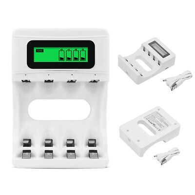 USB Smart Battery Charger LCD Display 4 Slots For AA/AAA NiCd NiMh Rechargeable