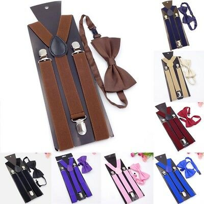 Unisex Color Mens And Womens Suspender Bow Tie Set Clip On Adjustable Nice Chic