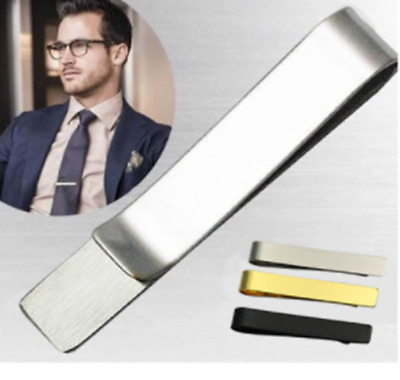 Mens Skinny 4.8CM Slide-On-Tie Bar Stainless Steel Clasp Slim Pin Clip New Chic