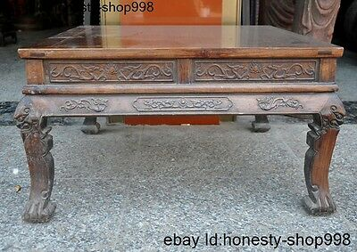 "34""A Collect Huge Chinese Huanghuali wood Carving Dragon Beast Statue Table Desk"