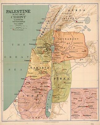 """20"""" x 24"""" 1916 Map Palestine in the time of Christ : illustrating the four G"""