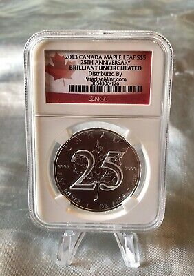 2013 Canada Maple Leaf $5-25Th Anniversary-Ngc Brilliant Uncirculated-.9999 Fine