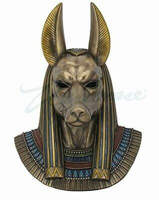 "Ancient Egyptian Anubis Figure 14"" Tall God Bust Wall Plaque Decor Bronze Finish"