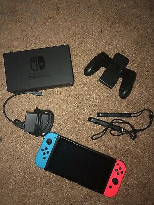 Nintendo Switch 32GB Gray Console with Neon Red and Neon Blue Joy-Con READ DESCR