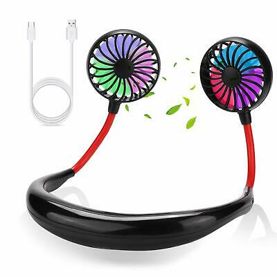Portable USB Rechargeable Neck Dual Cooling Mini Fan Battery Powered for Sports