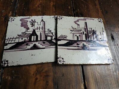 ANTIQUE BUILDINGS~c17th CENTURY HAND-PAINTED MANGANESE DELFT TILES~DUTCH POTTERY