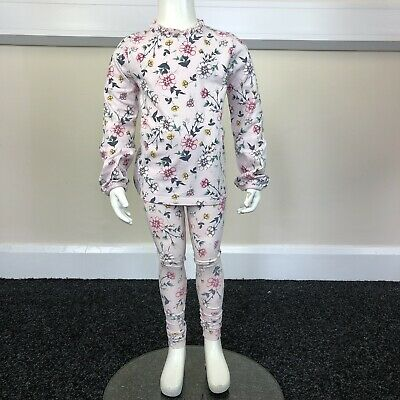 George Girls Pink Floral Patterned T-Shirt Leggings Outfit Set UK Age 4-6 Years