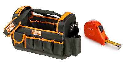 "Bahco 3100TB 17"" Hard Base Open Tote Tool Bag & 5MTR Tape Measure"