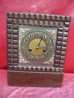Old Fireplace Clock __ Pendulum Clock __Holz-Messing__ 32cm
