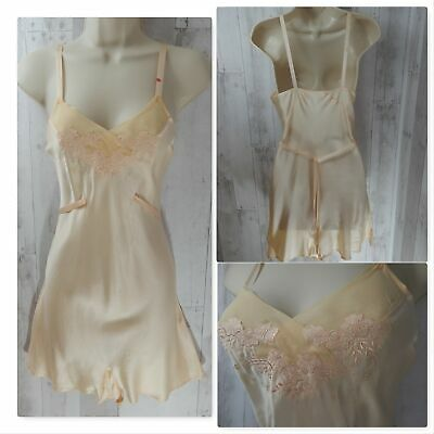 1930s Antique TEDDY NEGLIGEE LINGERIE Blush Pale Pink Silk Embroidery 34B Rare