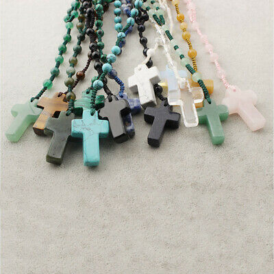14Style 6mm Stone Beads with Luck Natural Stone Cross Pendant Rosary Necklace