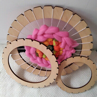 Round Wooden Knitting Loom Craft DIY Weaving Tool Handmade Wall Hanging 30cm
