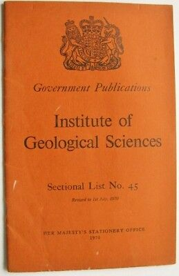 HM Stationery Office Institute of Geological Sciences Sectional List No. 45 1970