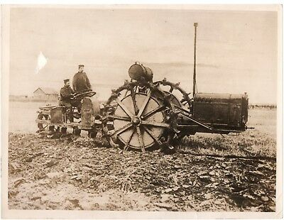 Antique Photo: Behind Western Front German Soldiers Operating Plough World War 1