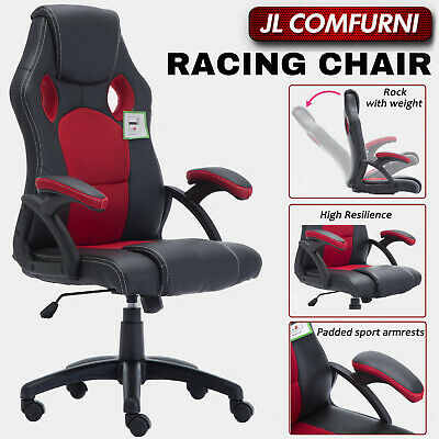 Executive Racing Gaming Home Office Chair Swivel Pu Leather Computer Desk