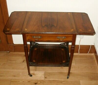 Victorian Inlaid Rosewood Drop Leaf Occasional Table - Galleried Undertier