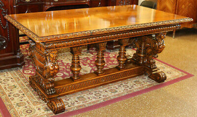 Best Carved Walnut Figural Ladies Arched Library Center Table Desk Restored MINT