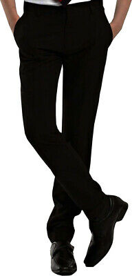 Men's Boys Black Skinny Leg Slim Fit School Trouser's Bottom's Formal Work Pant