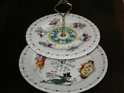 Alice in Wonderland Paul Cardew Design 2 tier plate tea party cupcake CAKE STAND
