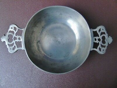 Early 20th c London Pewter Porringer ? Quaich -  With Double Crown Handles