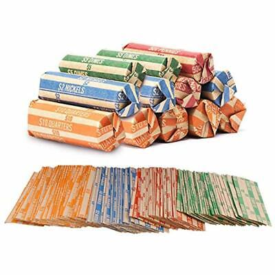 Coin Roll Wrappers 500 Count Assorted Coin Papers Bundle Of 125 Each Quarters