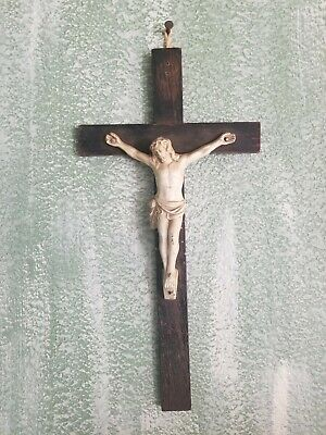 "Gorgeous Antique 19th Century Wood Cross Crucifix Metal Jesus 15"" Wall Hanging"