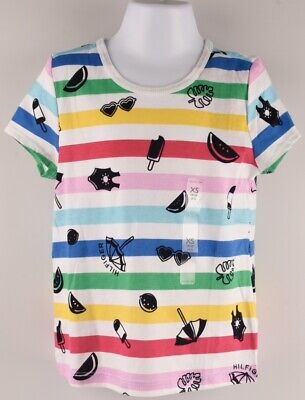 TOMMY HILFIGER Girls' Kids' Striped T-shirt Top, Multicoloured, 2-3 or 4-5 years