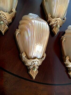 ART DECO ANTIQUE SLIP SHADE WALL SCONCE LIGHT FIXTURE THEATER MARKEL 4 Available