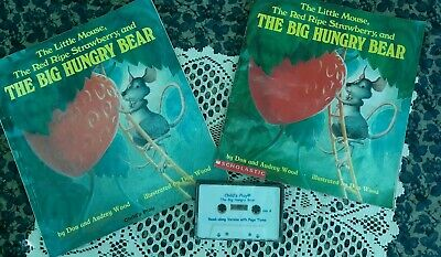 THE BIG HUNGRY BEAR Scholastic Read Along Lot 2 Books + Cassette Tape