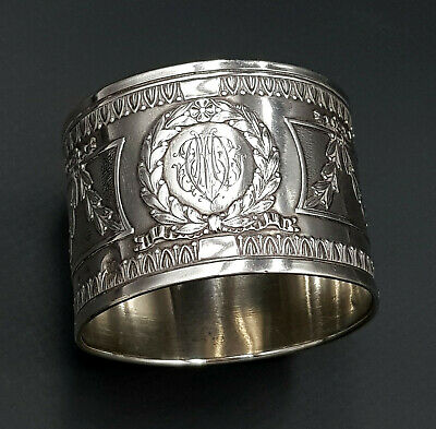 French Antique Sterling Silver Napkin Ring, Empire Style, 37 grams