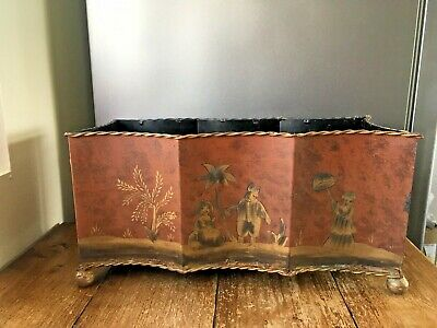 Vintage Tin Metal Toleware Planter Oriental Asian Flower Plant Pot Ball Feet