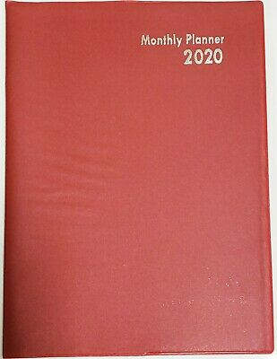 """2020 Planner/Calendar, Red, Monthly Format, 10"""" x 7.5"""""""