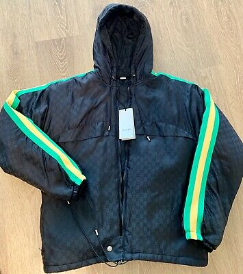751fb75ee $1980 MENS AUTHENTIC Gucci GG Print Nylon Jacket puff Green rare 50 ...