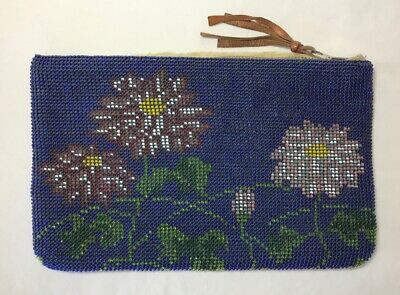 """Vintage Beaded Navy Blue Clutch Hand Bag Floral Purse Small Flower 8.75"""" x 5.5"""""""
