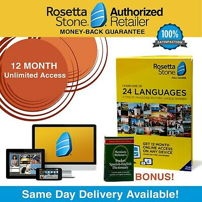 Rosetta Stone® Learn Spanish 12 Month UNLIMITED Complete Course App FREE BONUS