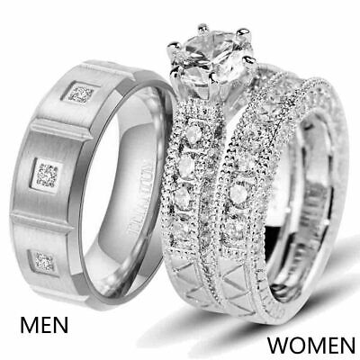 Couple Rings White Gold Filled Titanium Steel Mens Band CZ Womens Wedding Ring
